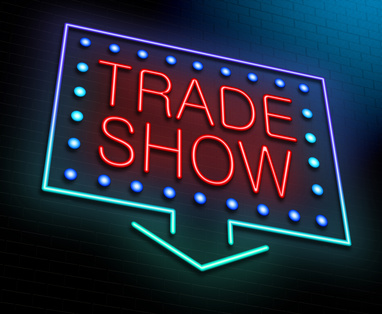 Illustration depicting an illuminated neon sign with a trade show concept.