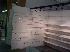 Xylea-Wood Slatwall Trade Show Shelving & Lighting Display